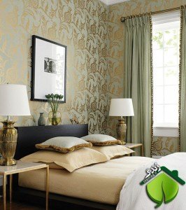 wallpaper-gold-foil-bedroom-bed-linens-lamps-green-sage-eclectic-home-decor-ideas
