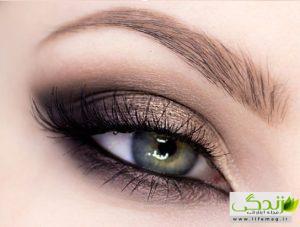 آموزش تصویری آرایش چشم اسموکی طلایی و قهوه ای در 15 قدم
